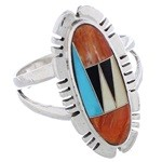 Sterling Silver Multicolor Southwest Jewelry Ring Size 8-1/2 EX21937