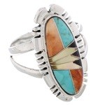 Sterling Silver Southwestern Multicolor Inlay Ring Size 7-3/4 EX21947