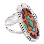 Sterling Silver Multicolor Southwest Jewelry Ring Size 8-1/2 EX21964