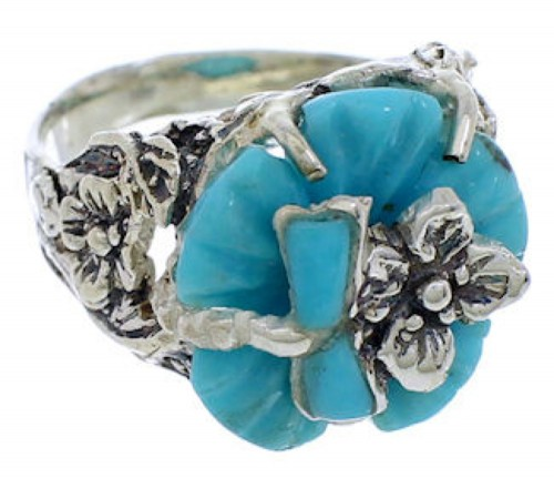 Southwest Turquoise Flower Dragonfly Jewelry Ring Size 5-1/4 EX23349