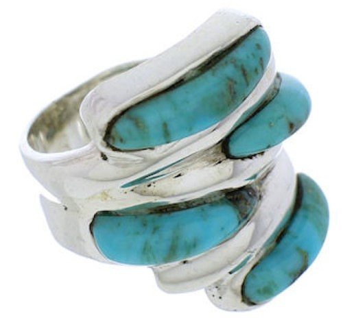 Turquoise Inlay Sterling Silver Ring Size 6-1/4 FX21985
