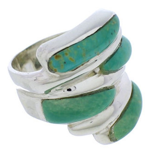 Silver Southwest Turquoise Inlay Ring Size 5-1/4 FX22001