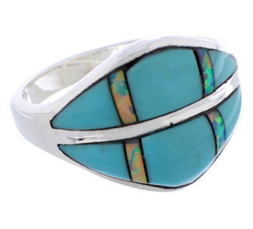 Southwestern Turquoise Opal Jewelry Silver Ring Size 7-3/4 MX23342