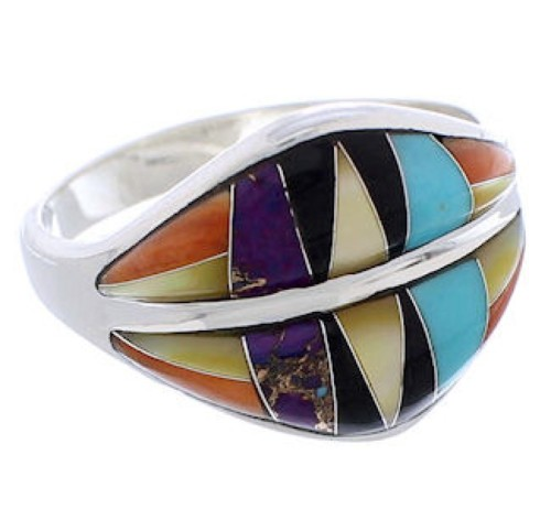 Turquoise Multicolor Inlay Sterling Silver Ring Size 7-3/4 MX23429