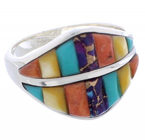 Sterling Silver Multicolor Inlay Southwestern Ring Size 7-3/4 MX23464