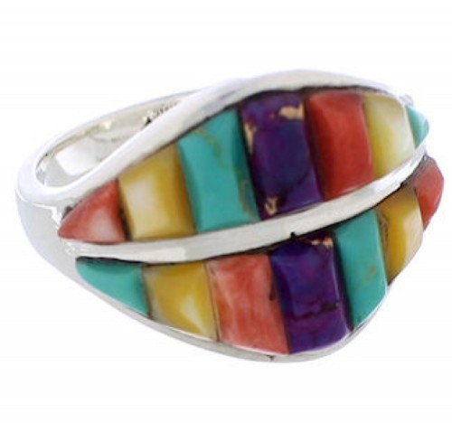 Southwest Sterling Silver Multicolor Jewelry Ring Size 7-3/4 MX23468