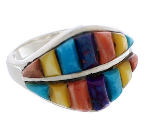 Southwest Genuine Sterling Silver Multicolor Ring Size 8-1/2 MX23472