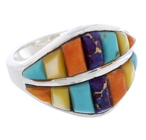 Silver Southwest Multicolor Jewelry Ring Size 7-1/2 MX23476