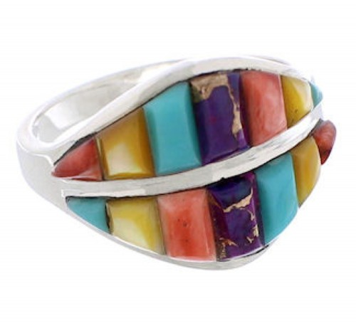 Sterling Silver Southwest Turquoise Multicolor Ring Size 8-3/4 MX23482