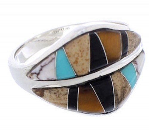 Sterling Silver Tiger Eye Multicolor Jewelry Ring Size 7-1/2 MX23520