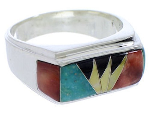 Sterling Silver Southwest Multicolor Inlay Ring Size 9-3/4 EX22148