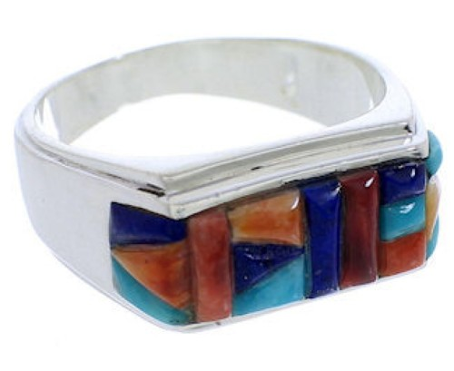 Sterling Silver Southwest Multicolor Jewelry Ring Size 9-3/4 EX22195