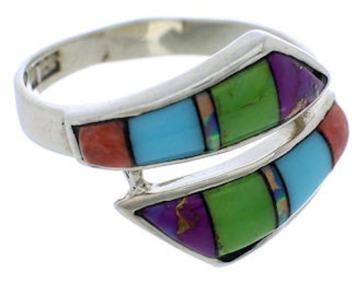 Authentic Sterling Silver Multicolor Jewelry Ring Size 6-1/4 VX36363