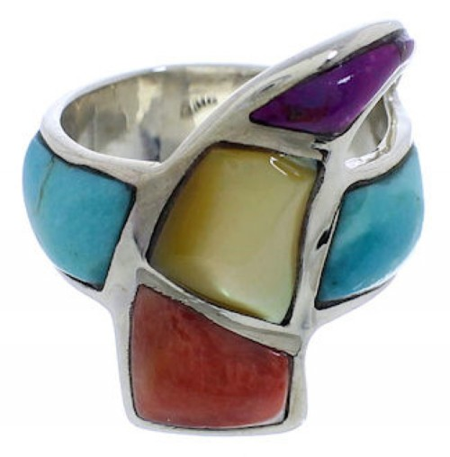 Sterling Silver Multicolor Turquoise Jewelry Ring Size 5-1/4 VX36441
