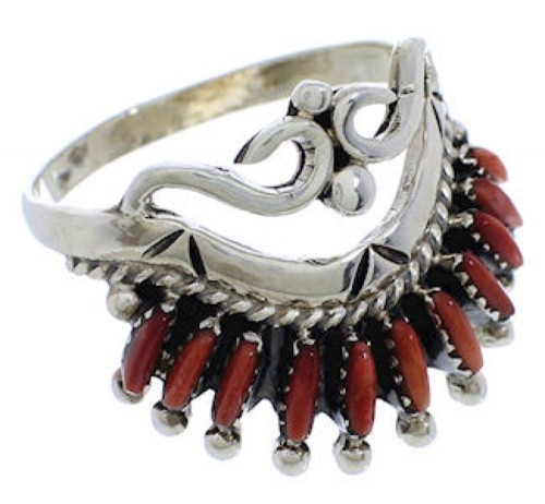 Sterling Silver And Red Oyster Shell Ring Size 7-1/2 AS50657