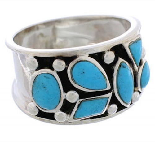 Genuine Sterling Silver Turquoise Jewelry Ring Size 8-1/4 TX28150