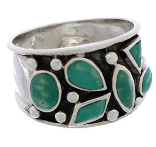 Southwestern Sterling Silver Turquoise Jewelry Ring Size 6 TX28340