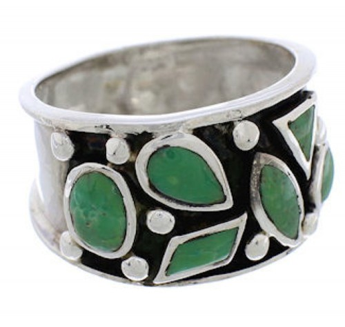 Southwest Genuine Sterling Silver Turquoise Ring Size 6-1/4 TX28343