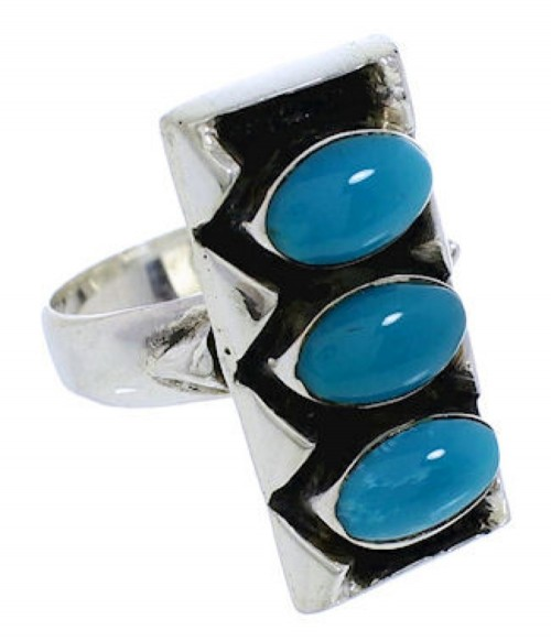 Southwestern Silver And Turquoise Ring Size 6-1/2 UX33256