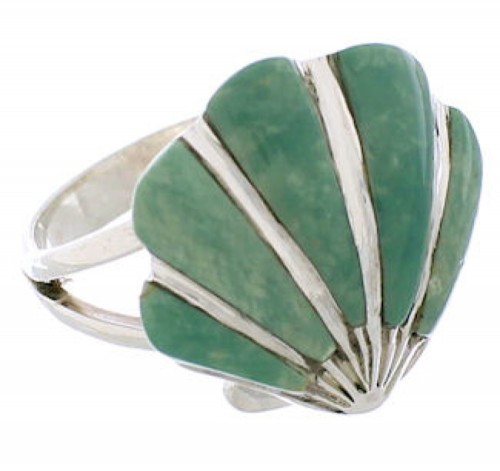 Southwest Turquoise Inlay Silver Seashell Ring Size 4-3/4 FX22380