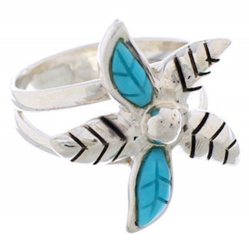 Turquoise Inlay Flower Genuine Silver Ring Size 5-1/4 FX22567
