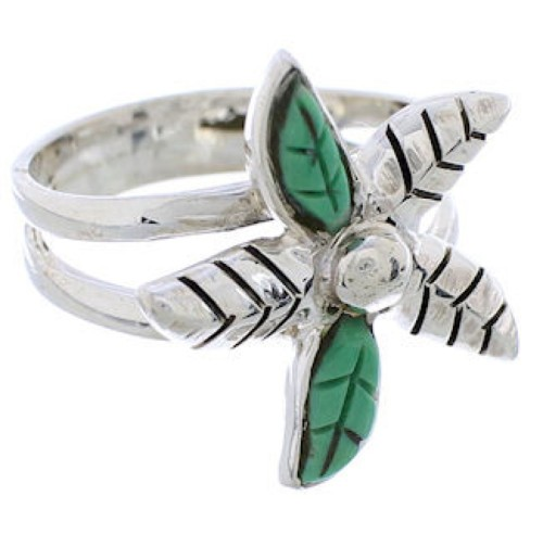 Silver Southwest Flower Turquoise Ring Size 6-1/2 FX22253