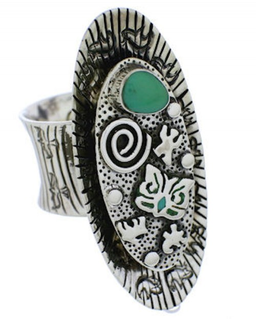 Bear Butterfly Southwest Turquoise Jewelry Ring Size 7-3/4 PX41335