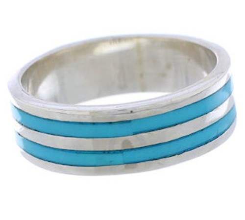 Silver And Turquoise Inlay Ring Band Size 6-3/4 UX35367