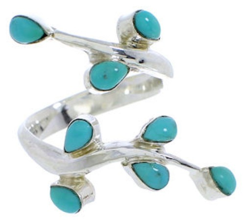 Sterling Silver Turquoise Southwestern Jewelry Ring Size 6-3/4 EX22788