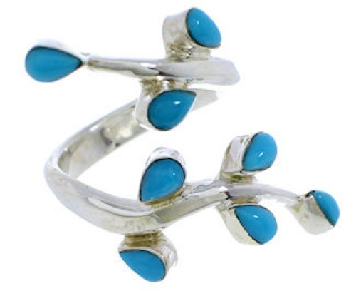 Southwestern Jewelry Turquoise Sterling Silver Ring Size 8-1/2 EX22885