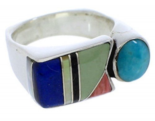 Southwest Multicolor And Sterling Silver Ring Size 5-3/4 UX39926