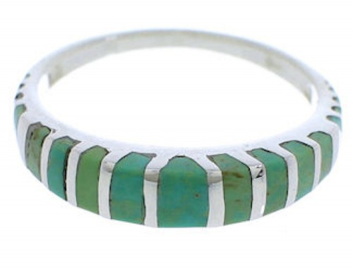 Silver And Turquoise Southwest Inlay Ring Size 8-1/4 UX42508