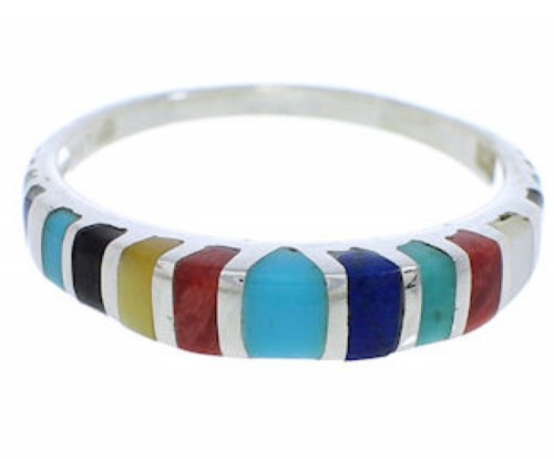 Southwest Multicolor Inlay Silver Ring Size 5-3/4 TX45537