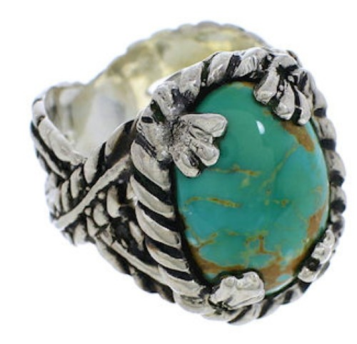 Southwest Sterling Silver Jewelry Turquoise Ring Size 6-1/2 FX22741