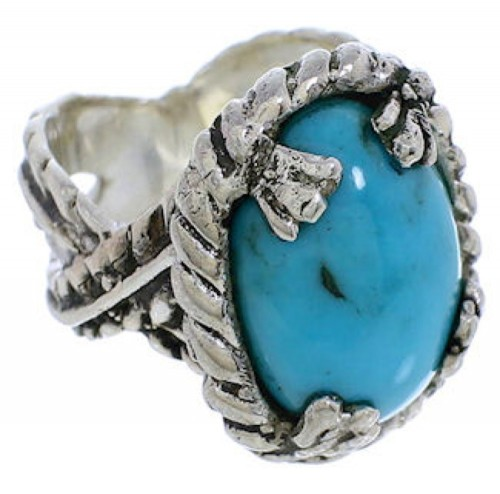 Southwest Sterling Silver Turquoise Ring Size 6 FX22805