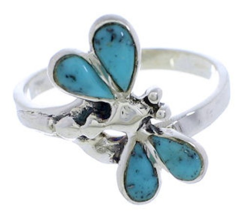 Silver Turquoise Inlay Southwest Dragonfly Ring Size 8-1/4 FX22631