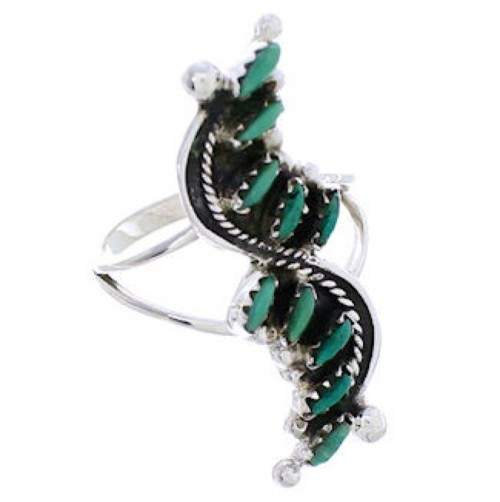 Authentic Silver And Turquoise Needlepoint Ring Size 5-1/4 YX34071
