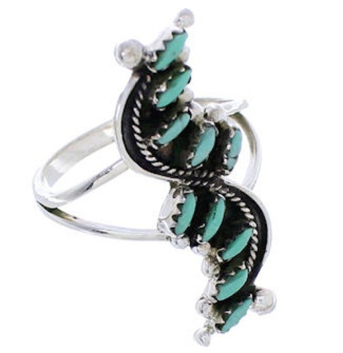 Southwest Needlepoint Turquoise And Silver Jewelry Ring Size 7 YX34079
