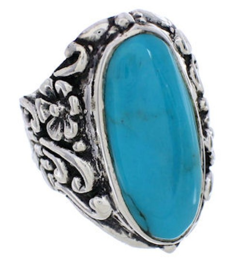Sterling Silver Flower Turquoise Southwest Ring Size 7-3/4 YX34284