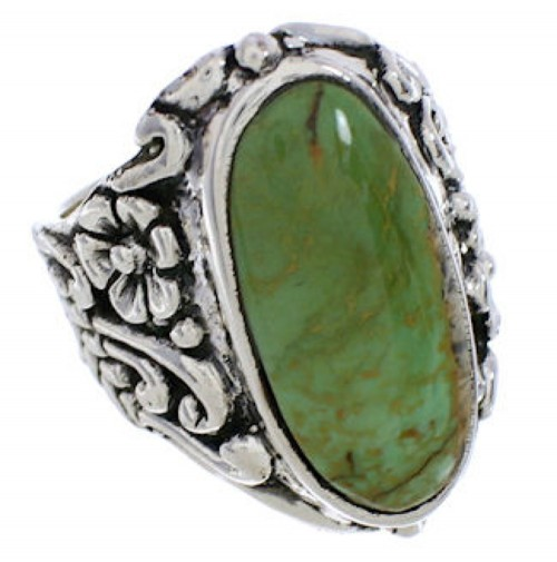 Silver Flower Turquoise Southwest Jewelry Ring Size 6-3/4 YX34397