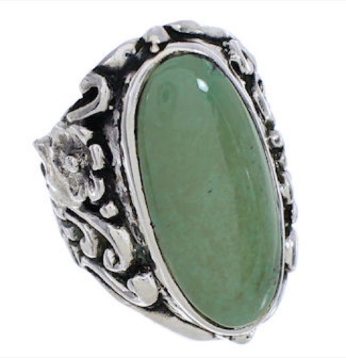 Silver Flower Jewelry Turquoise Ring Size 5-1/4 YX34569