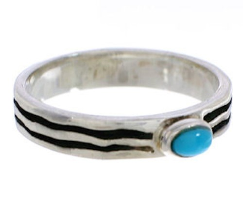 Stackable Sterling Silver And Turquoise Ring Size 5-3/4 UX34571