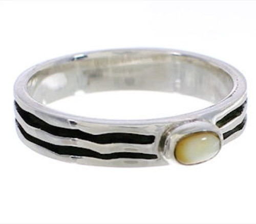 Stackable Silver Yellow Mother Of Pearl Ring Size 8-1/2 UX34656