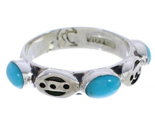 Authentic Silver Turquoise Stackable Jewelry Ring Size 5-1/4 UX34781