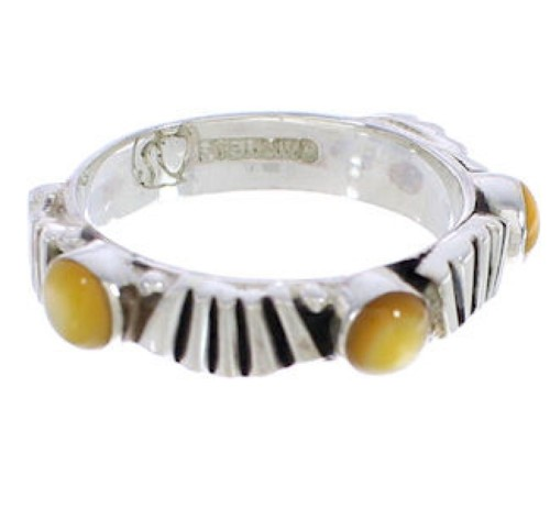 Stackable Silver Yellow Mother Of Pearl Ring Size 5-1/4 UX34859
