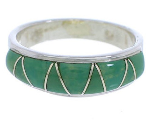 Genuine Sterling Silver Turquoise Inlay Ring Size 6-1/4 UX36863