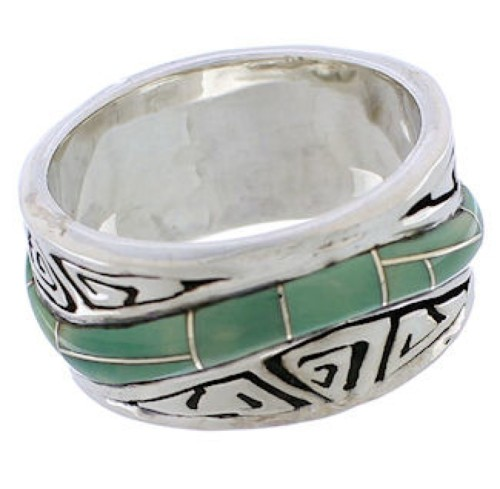 Turquoise Southwestern Water Wave Ring Size 6-3/4 EX40848