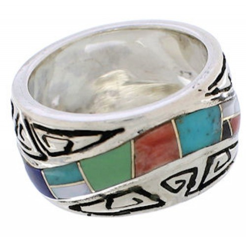 Southwest Multicolor Water Wave Silver Ring Size 5 EX40878