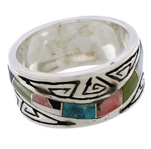 Multicolor Water Wave Southwestern Ring Size 6-3/4 EX40885