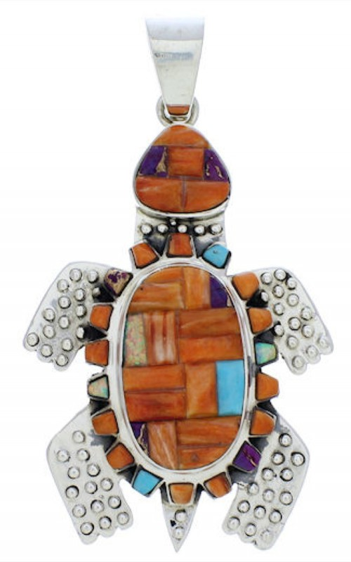 Sterling Silver Turtle Multicolor Jewelry Pendant MX22268